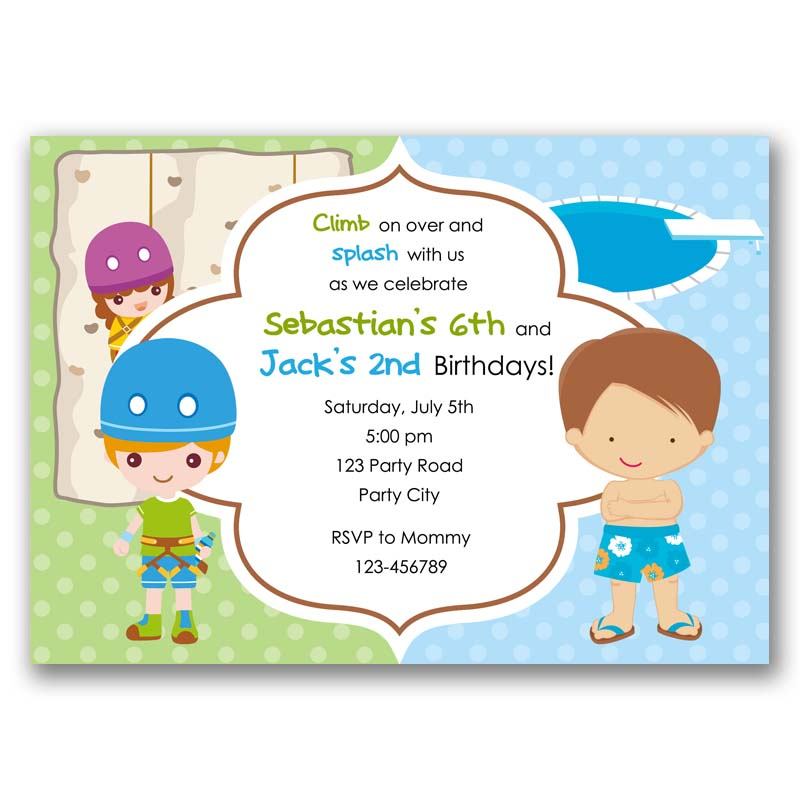 Pool Party & Rock Climbing Birthday Invitation (Split / Joint / Twin ...