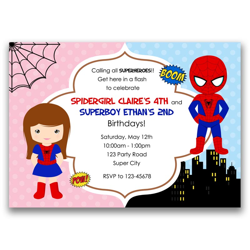 Spiderman Spidergirl Inspired Superheroes Birthday Invitation
