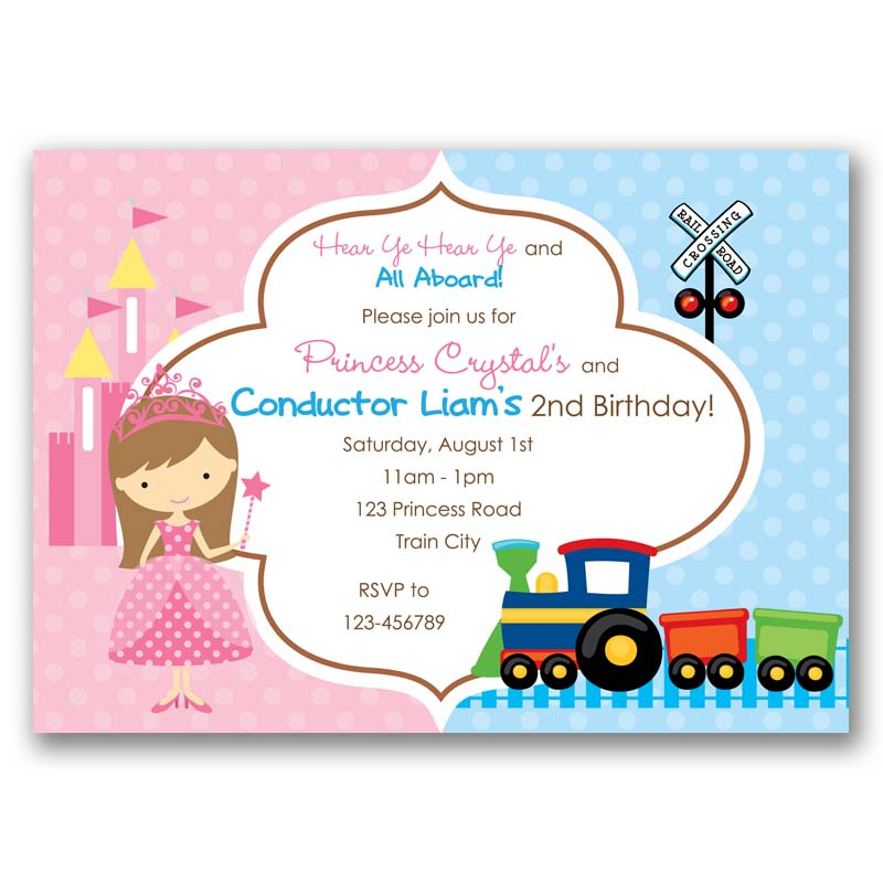 Princess and Train Birthday Invitation (Split / Joint / Twin ...