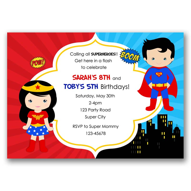 Superheroes Birthday Invitation Split Joint Twin Superman Wonder Woman