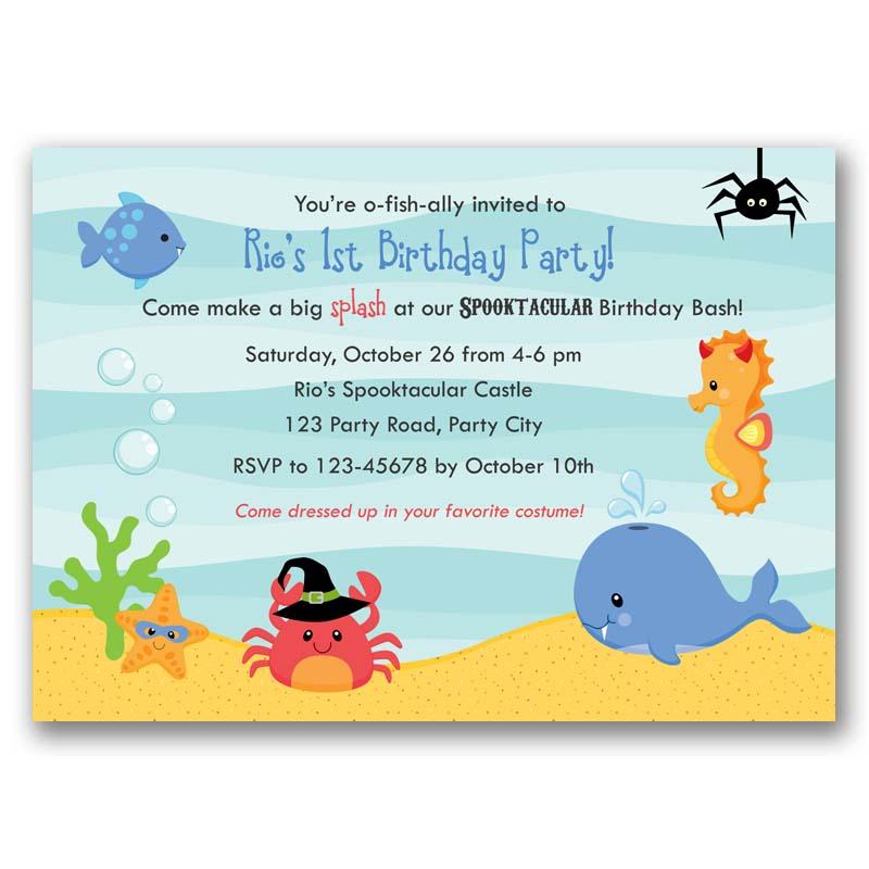 Halloween Under The Sea Birthday Invitation