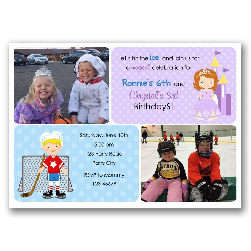 sofia the first hockey birthday invitation with photo split joint twin