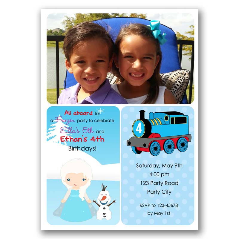 Thomas train frozen elsa photo birthday invitation split joint thomas train frozen elsa photo birthday invitation stopboris Gallery