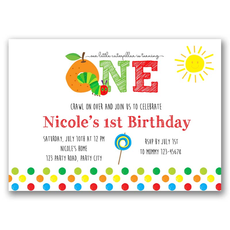 The Very Hungry Caterpillar Birthday Invitation – CallaChic