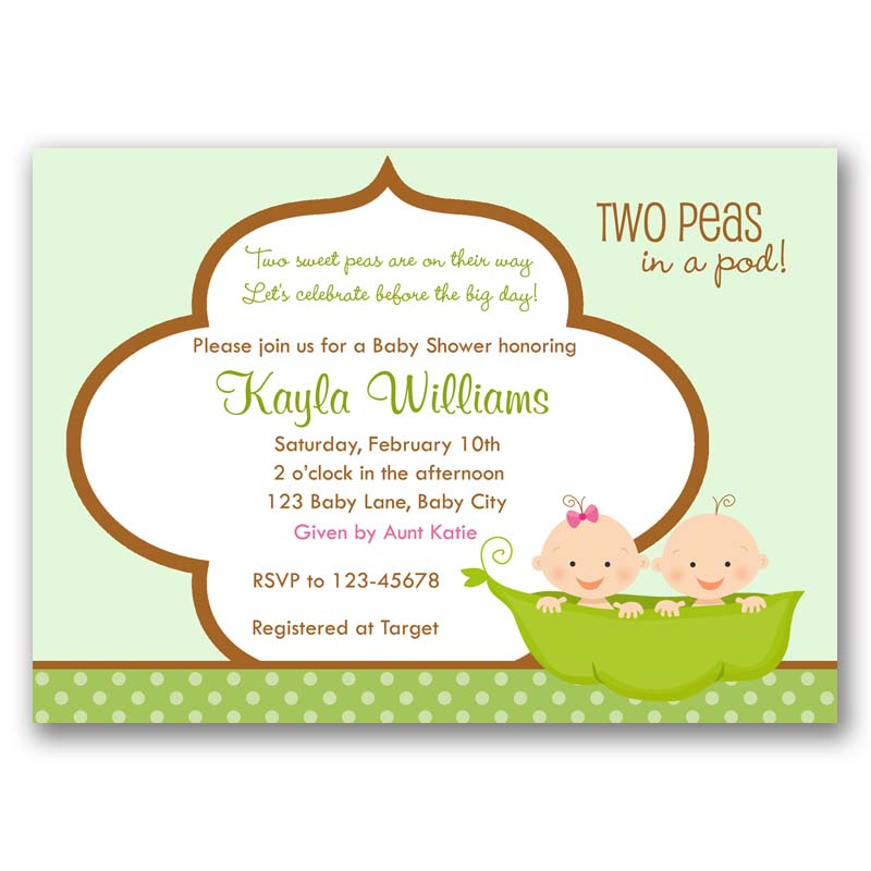 Two peas in a pod baby shower invitation callachic two peas in a pod baby shower invitation filmwisefo