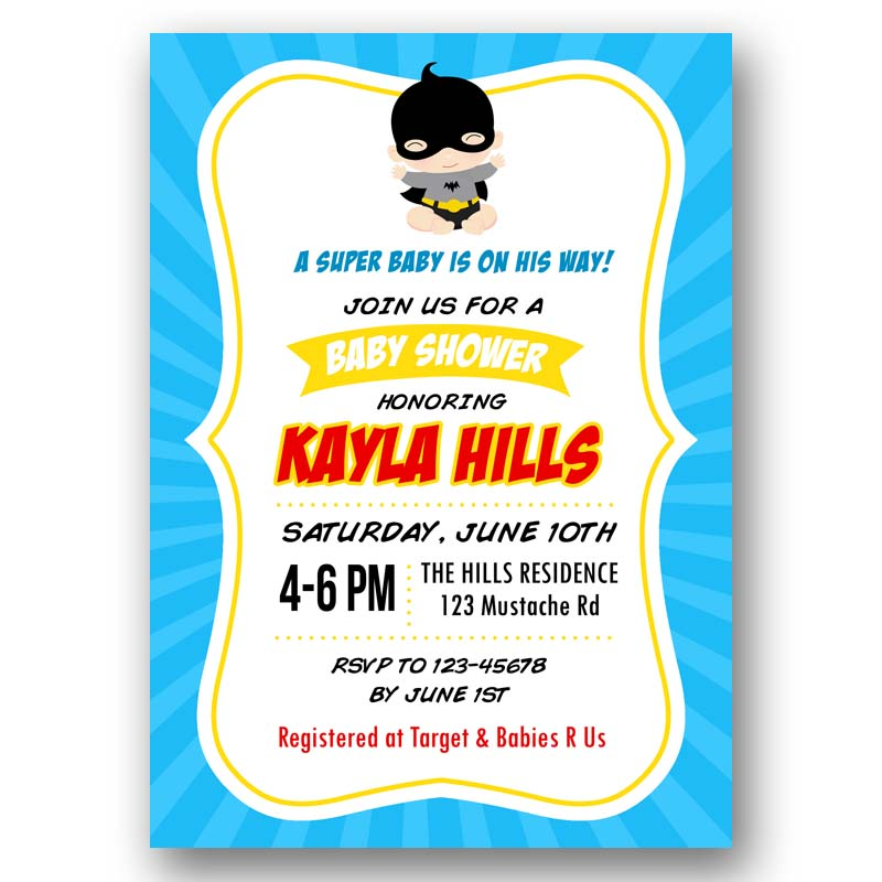 Superhero Baby Shower Invitation (Batman/Batgirl inspired) – CallaChic