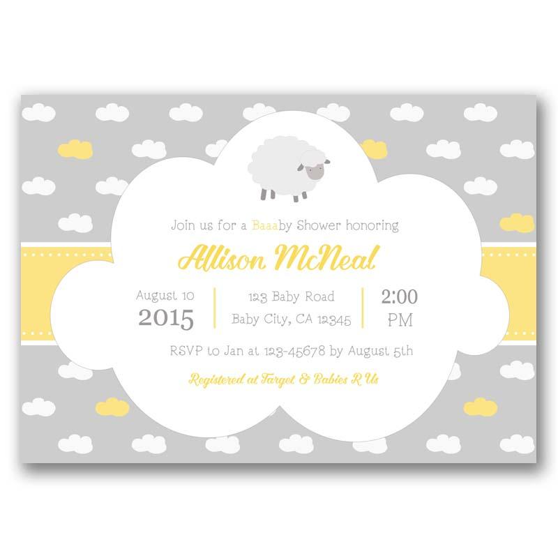 Sheep Baby Shower Invitation Lamb Yellow Gray