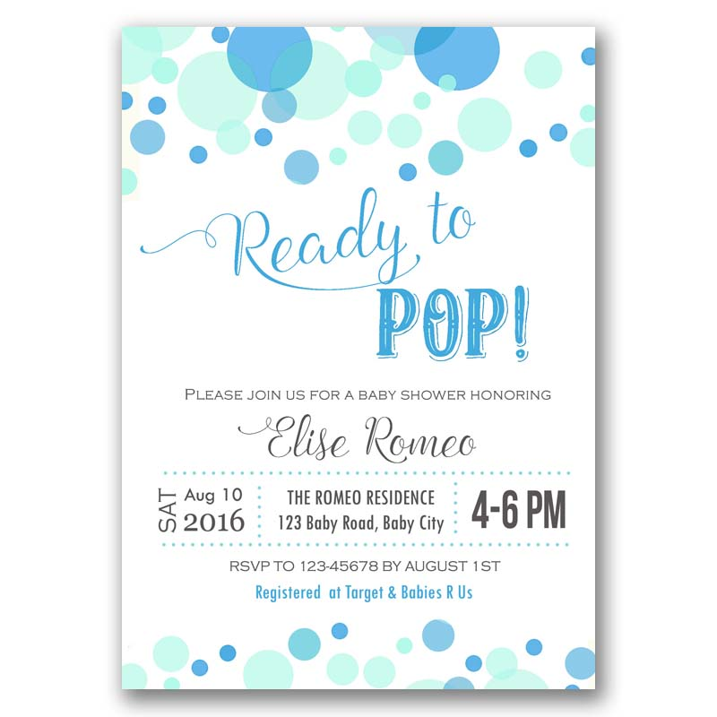 Ready to Pop Baby Shower Invitation (Blue Aqua Bubbles) – CallaChic