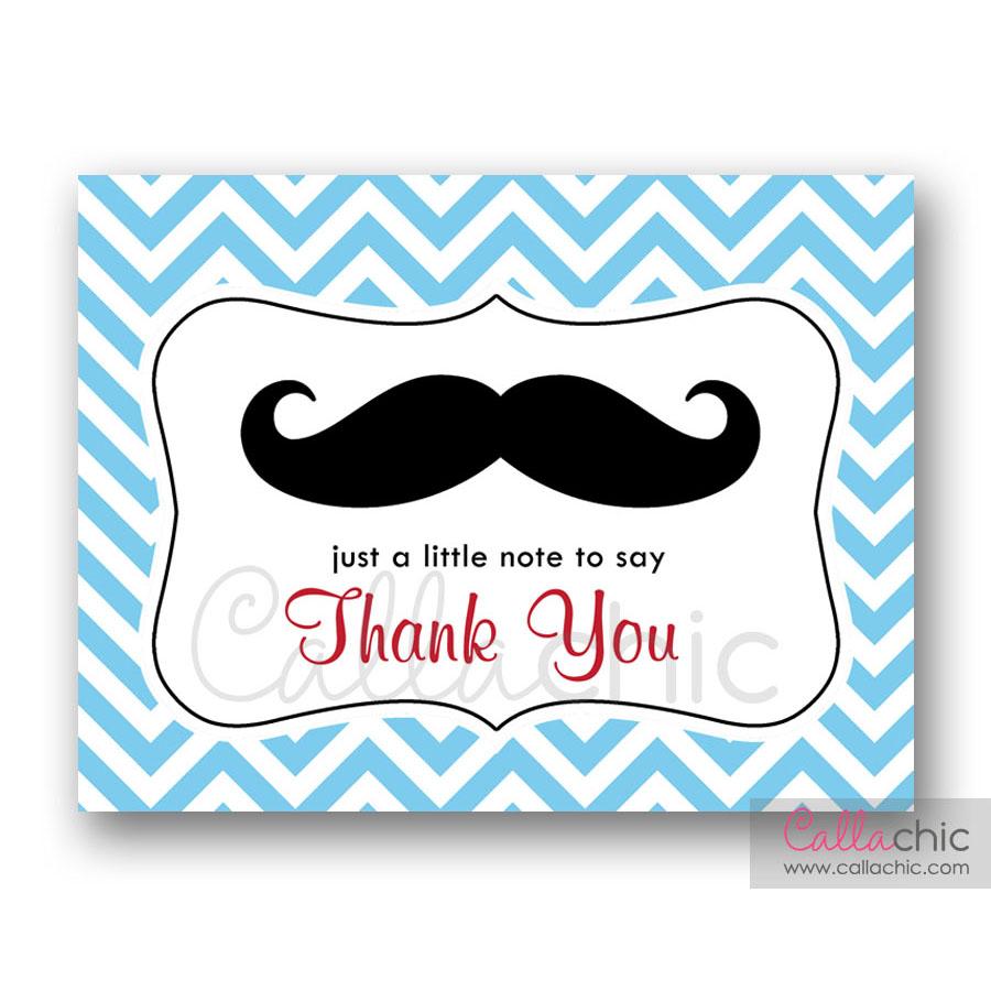 Moustache Thank You Card Little Man Callachic