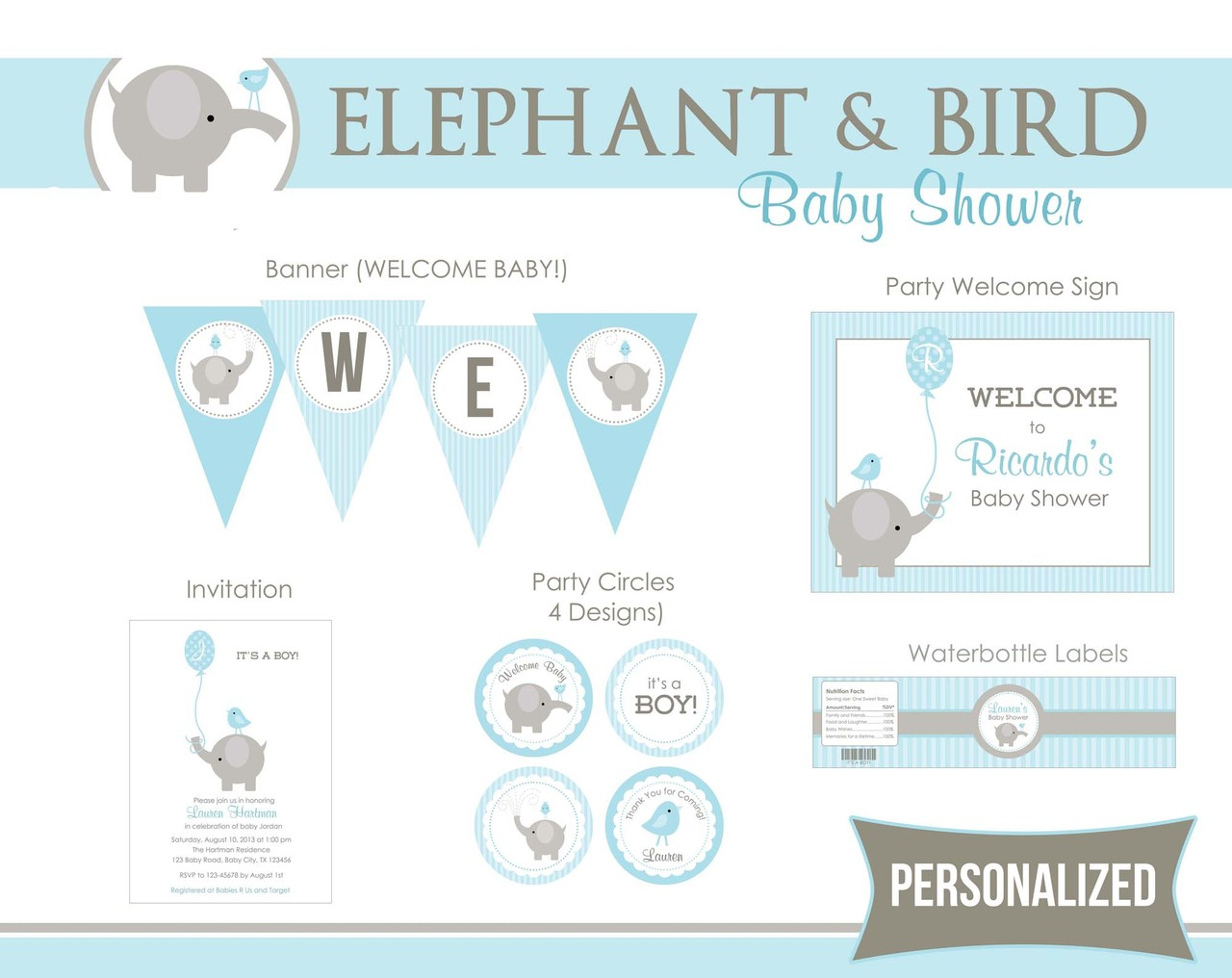 Elephant Baby Shower Party Package Printable - Boy Balloon & Bird ...