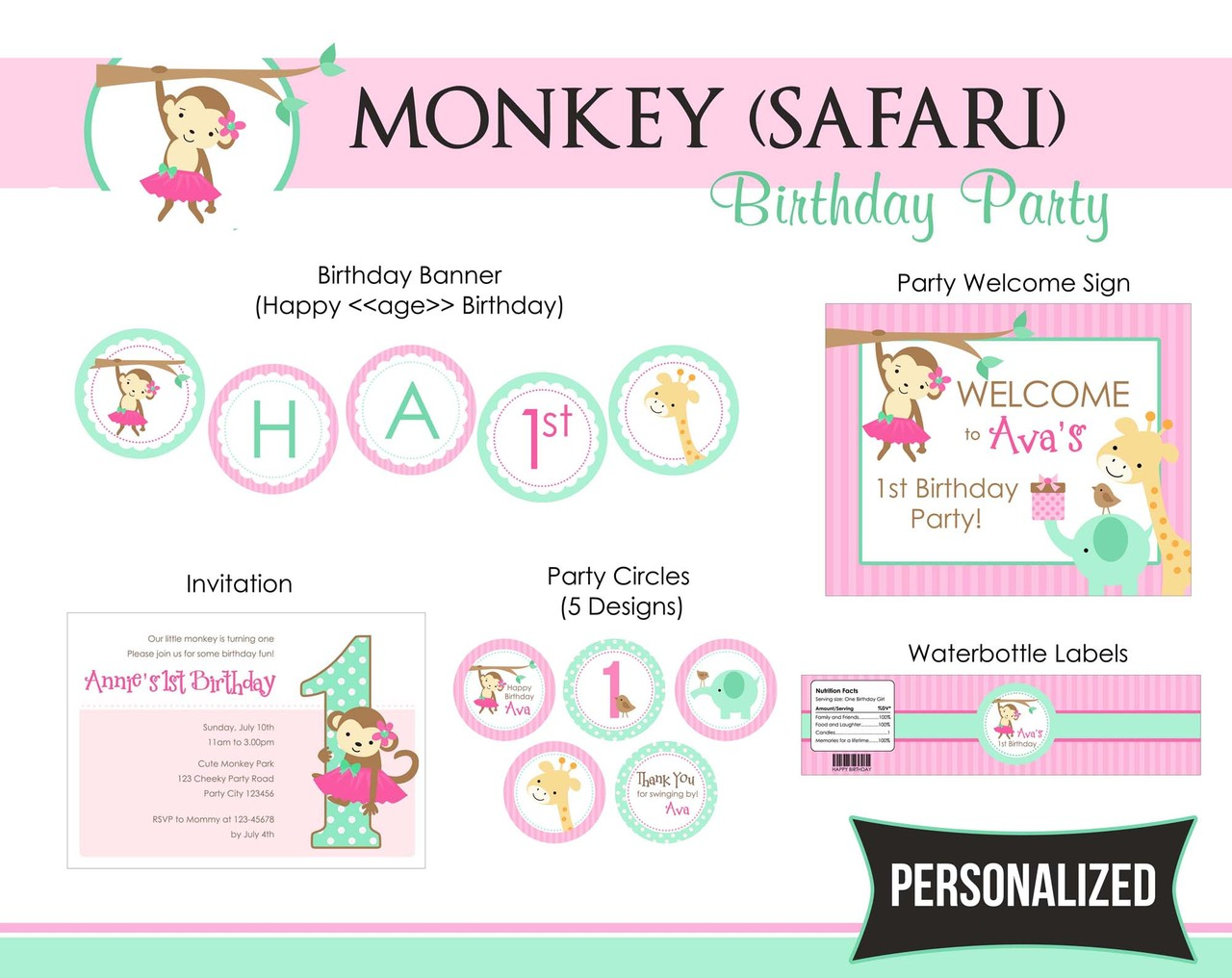 Monkey (Girl) Birthday Party Package - 1st Birthday with Tutu ...