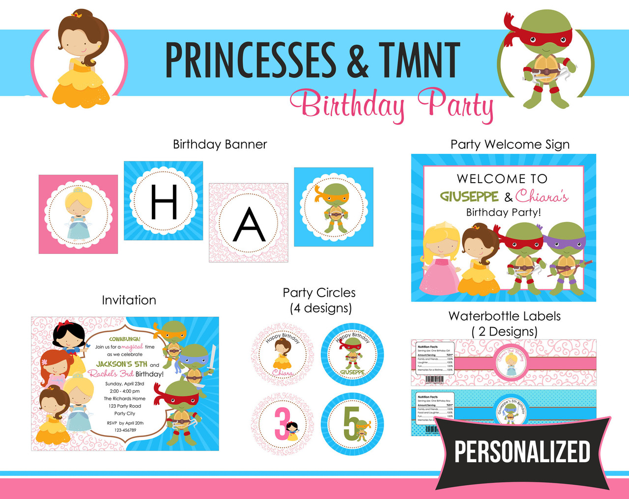 Princesses Teenage Mutant Ninja Turtle Party Package PRINTABLE ...