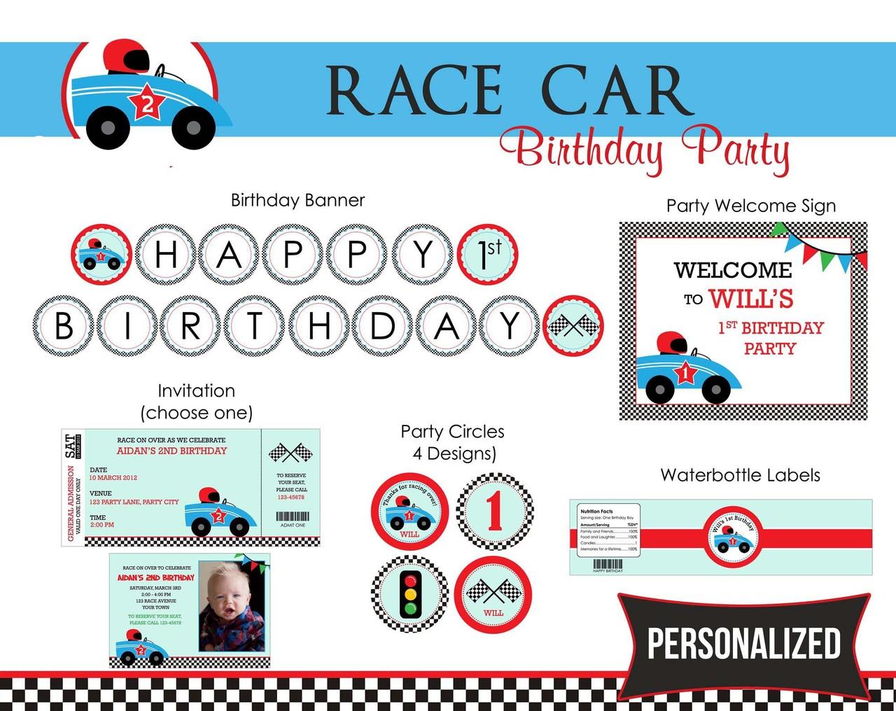 Race Car Birthday Party Package - DIY Printable – CallaChic