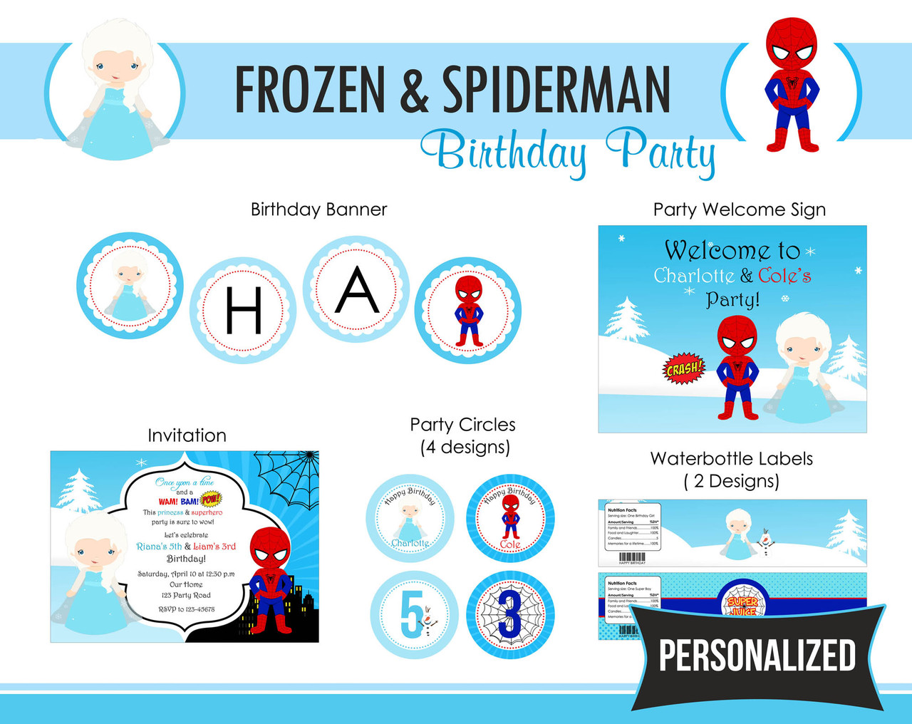 Frozen Spiderman Birthday Party Package Boy Girl Twin Joint DIY Printable