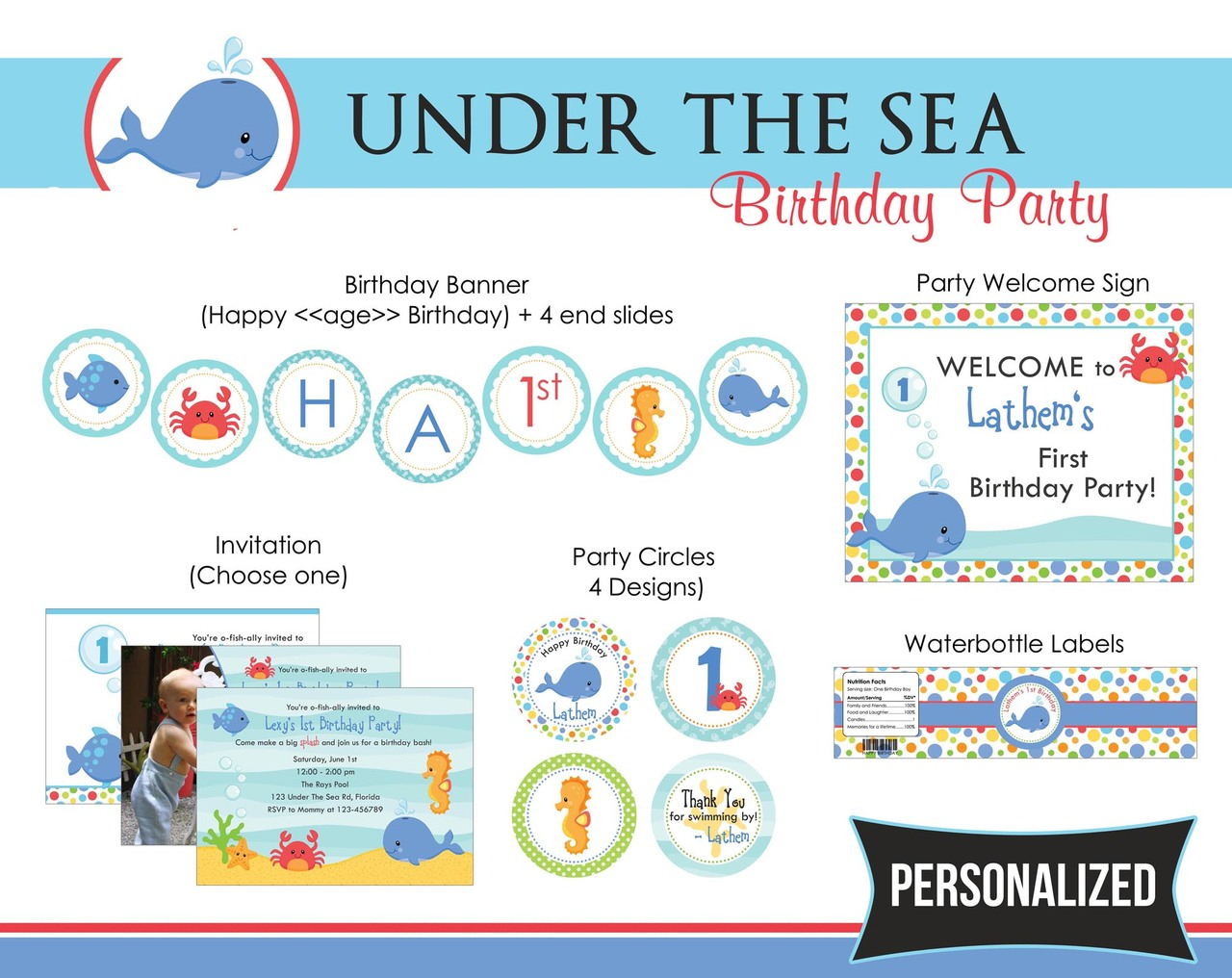 Under The Sea Birthday Party Package - for Boys (Blue) - Whale Fish ...