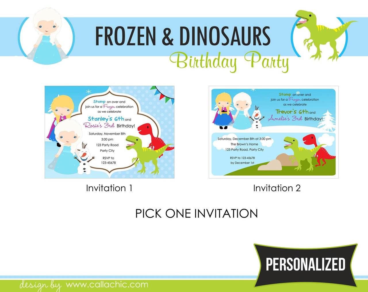 Frozen Dinosaurs Birthday Party Package - Boy Girl / Twin / Joint ...