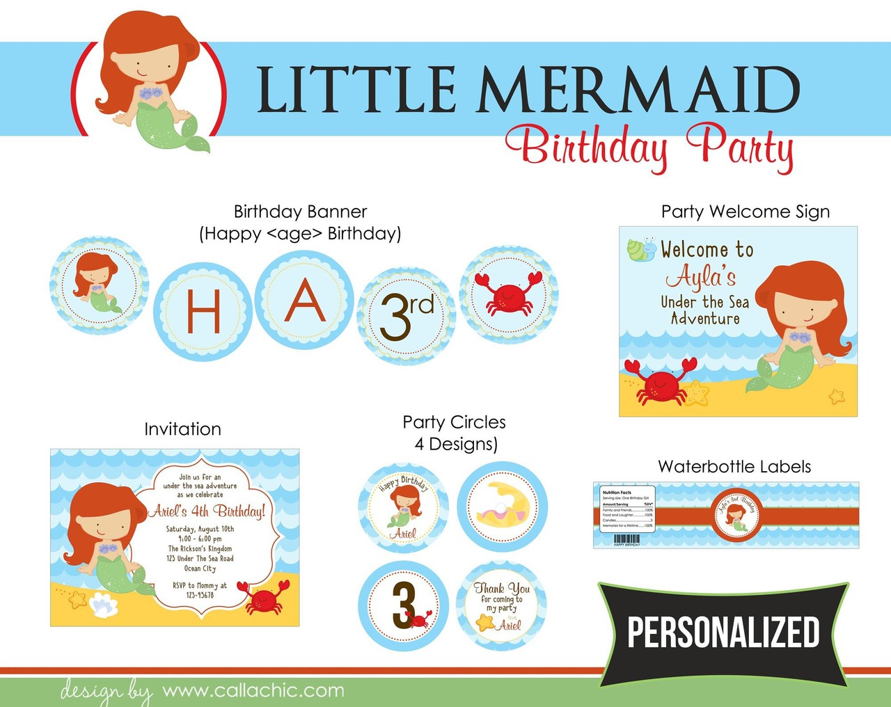 Little Mermaid Birthday Party Package For Girls Callachic