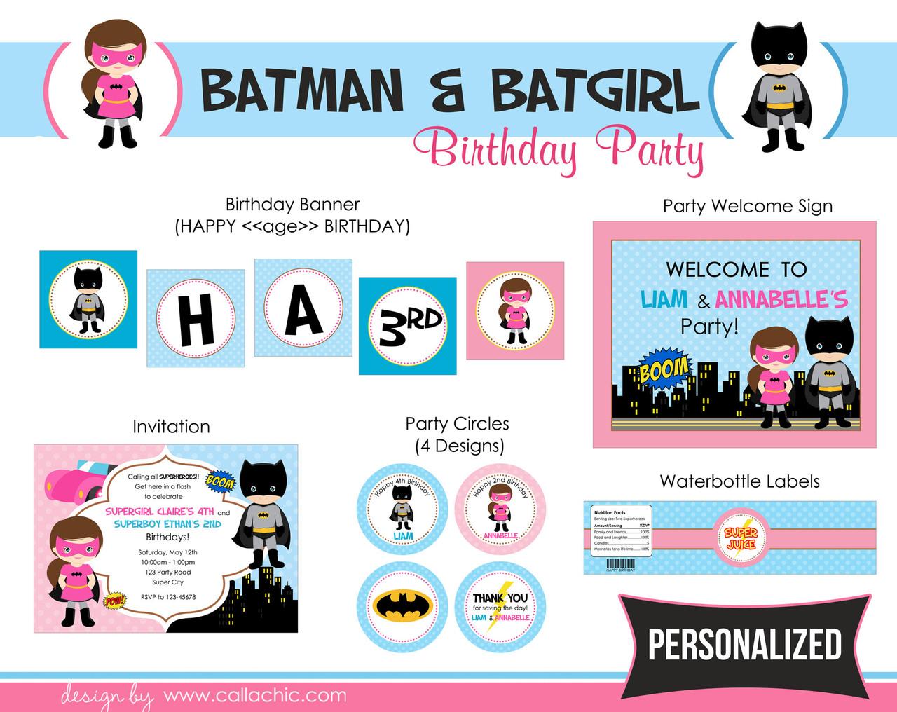 Batman & Batgirl Birthday Party Package - Boy Girl / Twin / Joint ...