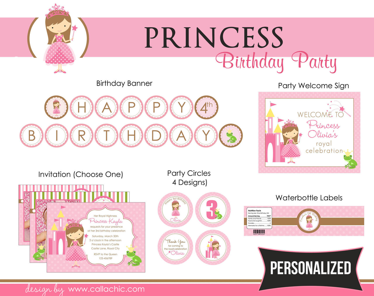 Princess (Pink) Birthday Party Package DIY Printable - with Frog ...
