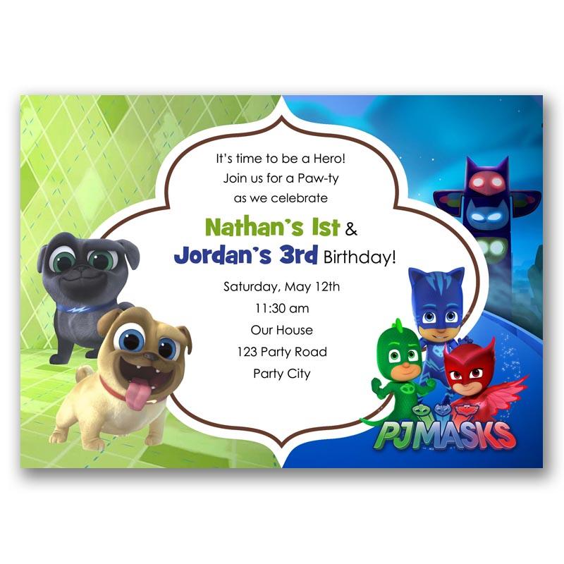 PJ Masks Puppy Dog Pals Birthday Invitation