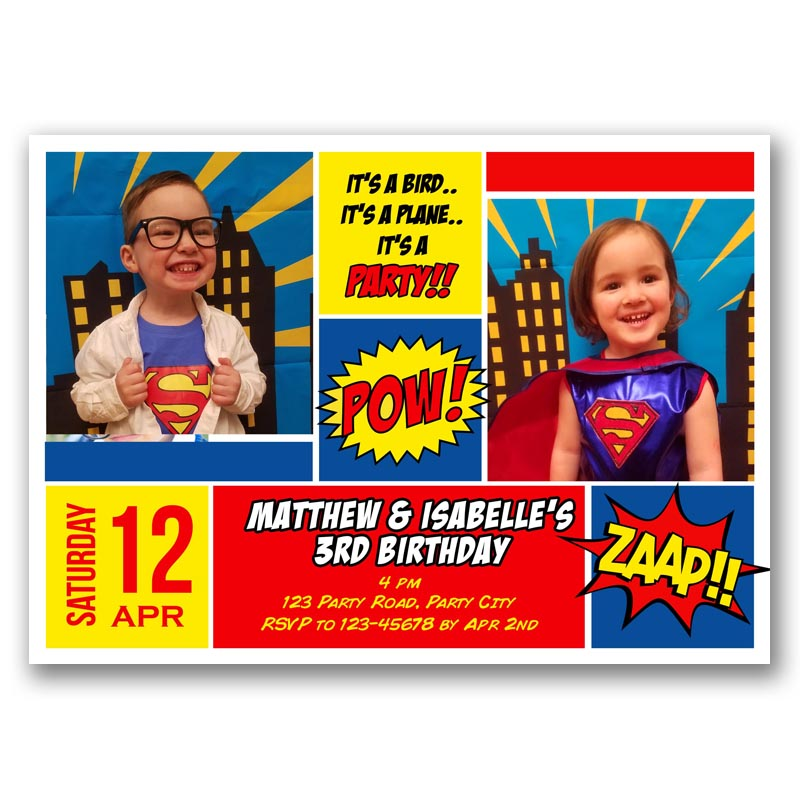 Superman Twin Birthday Invitation