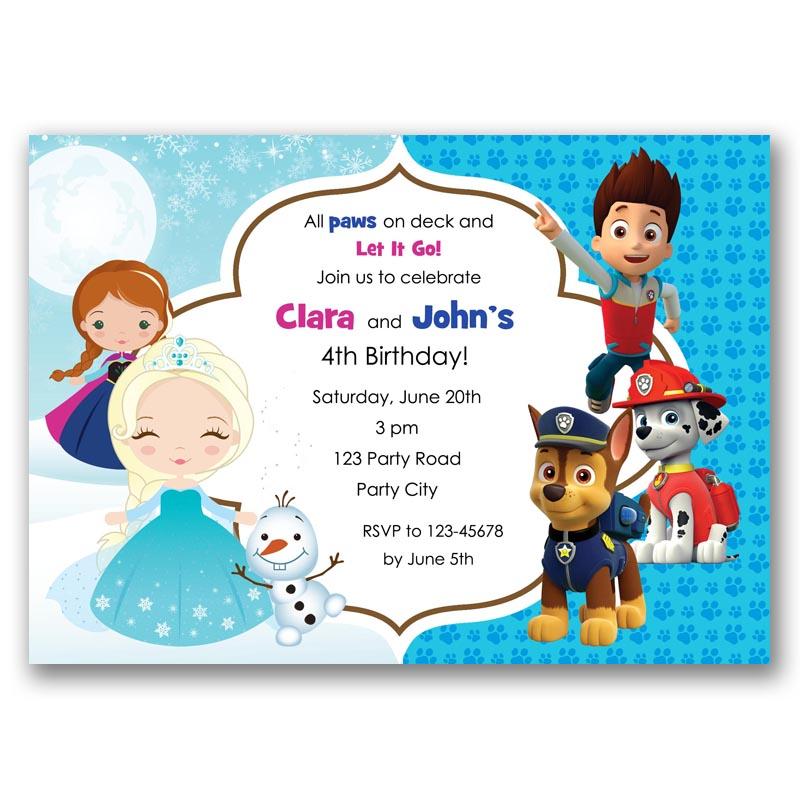 Frozen Paw Patrol Split Birthday Invitation