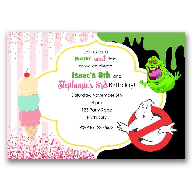 Ice Cream Ghostbusters Birthday Invitation