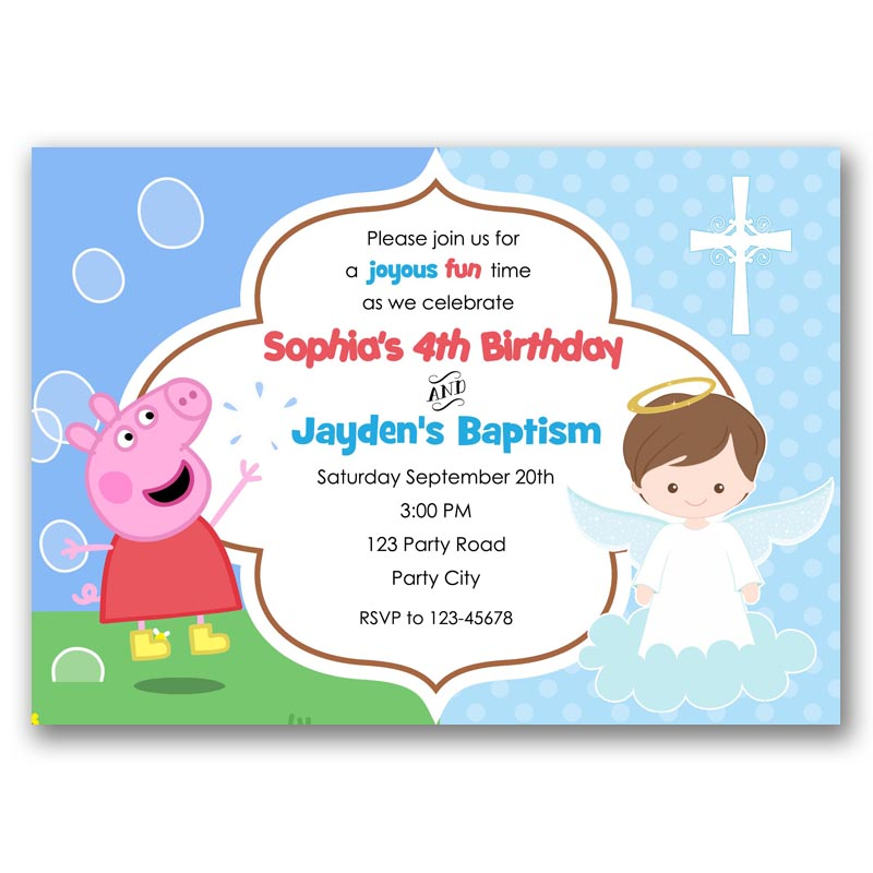 Baby Baptism Peppa Pig Birthday Invite