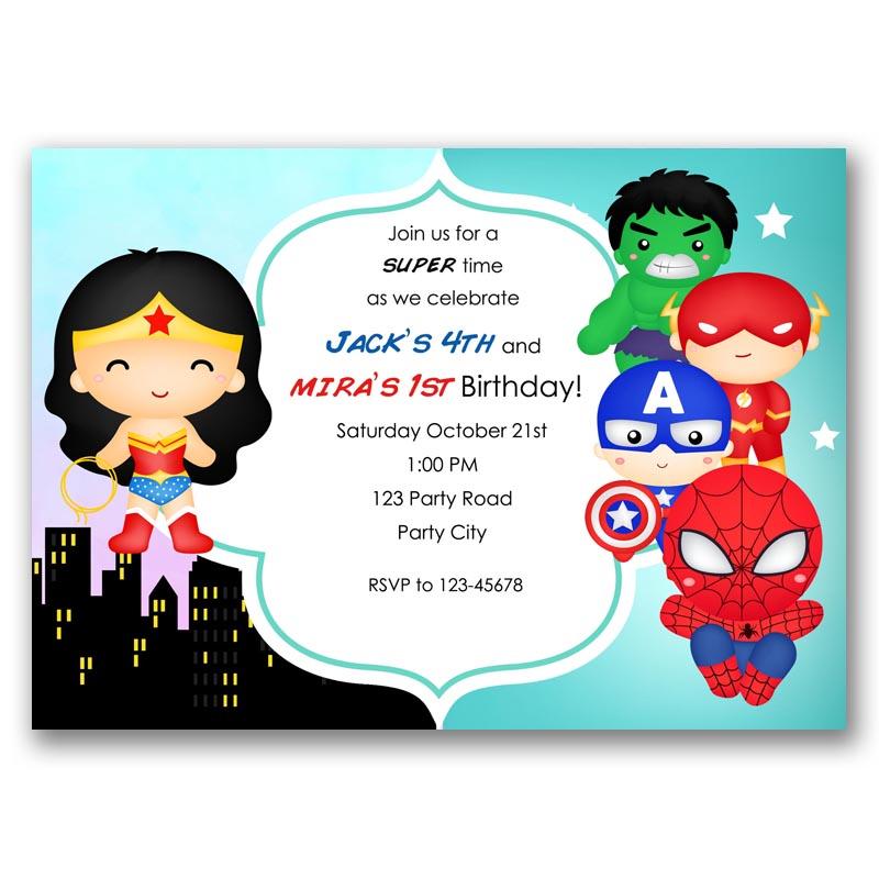 Kawaii Superheroes Split Birthday Invitation